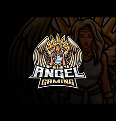 Angel mascot sport logo design vector