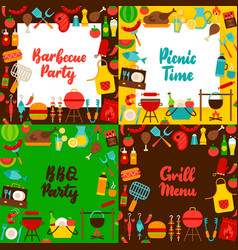 barbecue lettering posters set vector image