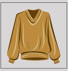beige sweater cardigan ochre oversize vector image