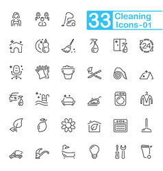 black cleaning line icons vector image