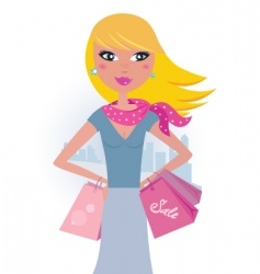 blond shopper girl with bags vector image