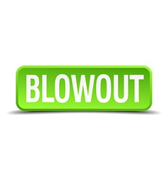 Blowout green 3d realistic square isolated button vector