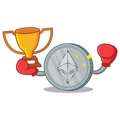 Boxing winner ethereum coin character cartoon vector