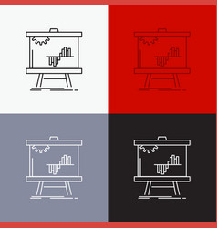 Business chart data graph stats icon over various vector