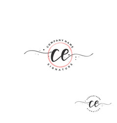 C e ce initial letter handwriting and signature vector