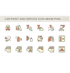 Car paint and repair service icon set design vector