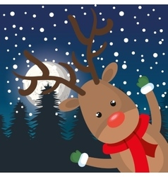 card cheerful reindeer landscape night vector image
