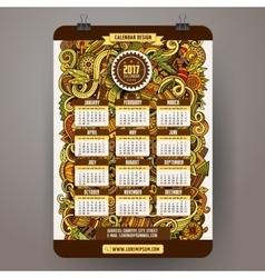 Cartoon doodles Africa 2017 year calendar template vector image