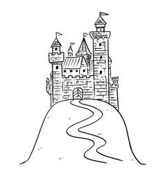 Cartoon drawing or fantasy castle on hill vector