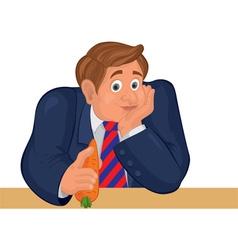 Cartoon man torso in striper tie with carrot vector