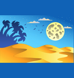 cartoon night desert landscape vector image