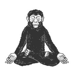 Chimpanzee monkey meditating sketch vector