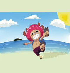 Chopper and the beach vector