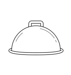 cloche with platter for serve line icon vector image