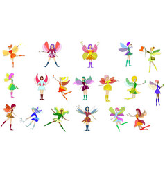 colorful set fairies in flying action little vector image