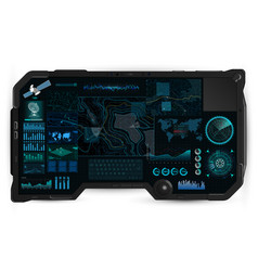 Command center screen in tablet hud vector