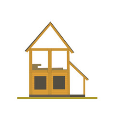 construction of wooden house process eco building vector image