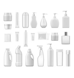 Cosmetic containers and chemical plastic bottles vector