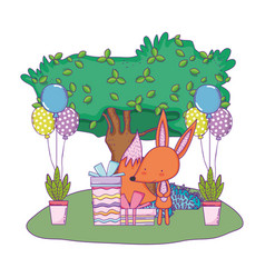 Cute and little fox with balloons helium in the vector