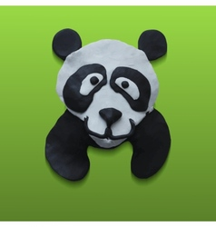 Cute Panda Head in Green Background vector image