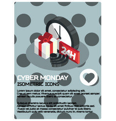 cyber monday isometric poster vector image