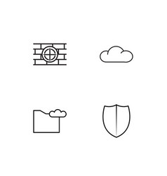 Cyber security linear icons set simple outline vector