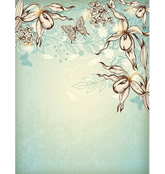 Decorative hand drawn floral background vector image