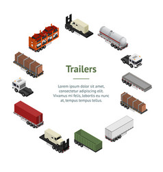 different types trailers 3d banner card circle vector image