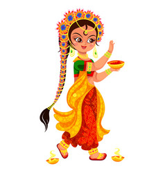 Diwali holiday and girl with bowl of paint vector