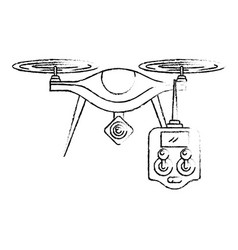 Drone with remote control device technologies vector
