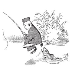 Fishing with lun chun foo 1 vintage vector