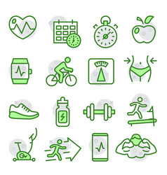 fitness and gym line icons on white vector image