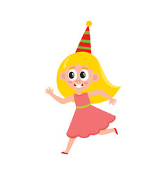 flat girl kid in funny hat running vector image