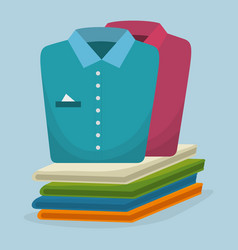 Folded clothes laundry service vector