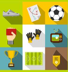 Football tournament icon set flat style vector