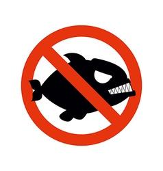 Forbidden Piranha Stop fish Red forbidding vector image