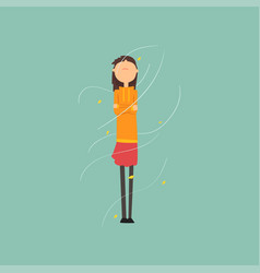 girl freezing and shivering on a very windy day vector image