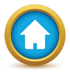 Gold home icon vector image