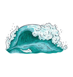hand drawn blue water wave isolated on white vector image