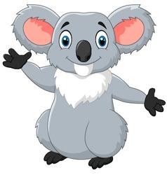 Happy cartoon koala waving hand vector