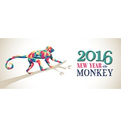 Happy china new year monkey 2016 triangle banner vector image