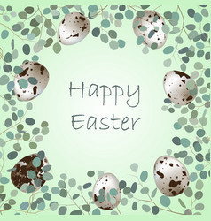 happy easter or spring greeting card frame quail vector image