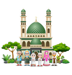 happy muslim family in front the mosque of an open vector image