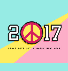 Happy new year 2017 peace patch icon card design vector