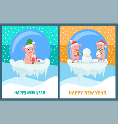 happy new year glass bauble toys with piglets vector image