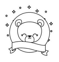 head cute bear animal with ribbon vector image