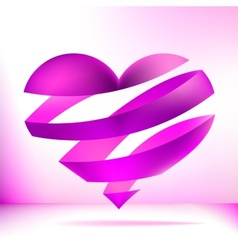 Heart made from pink ribbon EPS8 vector