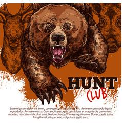 Hunting club poster with bear deer boar animal vector