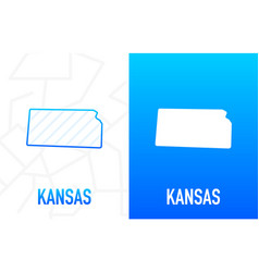 Kensas - us state contour line in white vector