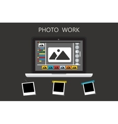 Laptop icon on gray backgroud with photo frame vector